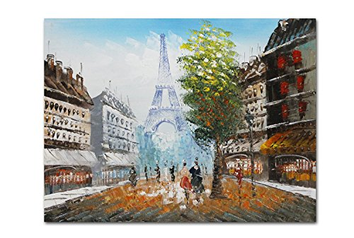 (Muzagroo Art Oil Paintings Hand Painted Art on Canvas Paris Decor Eiffel Tower Pictures Home Decor Stretched Ready to Hang (Colorful))