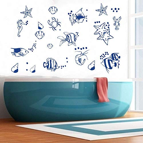 Removable Marine Animal Starfish Fish Bubble Wall Sticker Art Bathroom Shower Room Decoration Wall Decal Vinyl Home Decor Wall Mural Living Room Bedroom Kids Room Wall Decal (Blue)