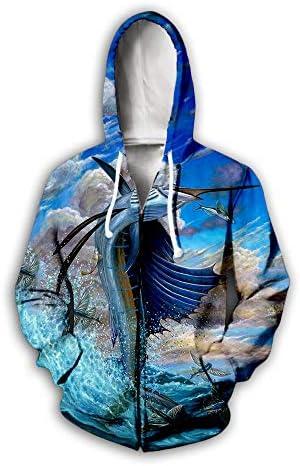 ユニセックスパーカージップ付き男性女性3D海の上の魚プリントプルオーバー長袖カーディガンカップルスウェットユニフォームジャンパー屋外