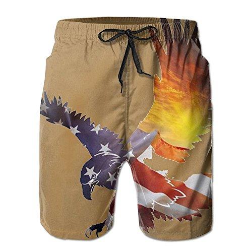 Men's Beach Shorts Swim Trunks Sunset American Flag Eagle Board Shorts with Pockets