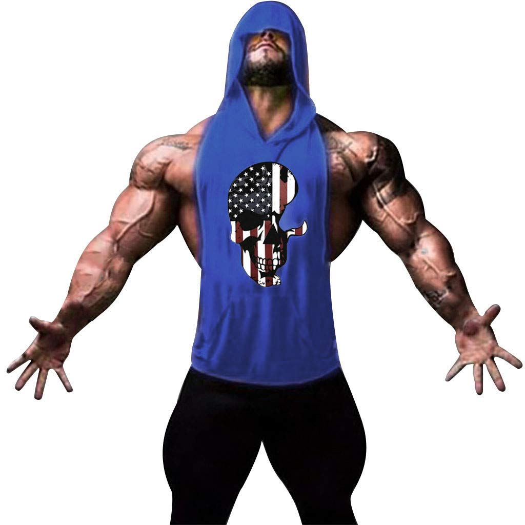 XQXCL USA Military American Skull Flag Patriotic Men's Hooded Sports Vest Solid Color Large Open-Forked Vest Blue