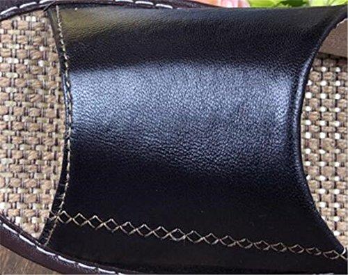 TELLW Suave Zapatillas Verano Piel de Oveja Las Mujeres casa Interior de Vino Suelo Fondo de Lino Madera de de Antideslizante Cool Mujeres de de Masculina Rojo Amantes casa Zapatillas de rAUWrgHaqw