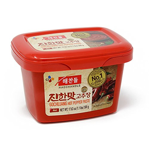 CJ Haechandle Gochujang, Hot Pepper Paste, 500g (Korean Spicy Red Chile Paste, 1.1 lb.) (Pepper Hot 500)