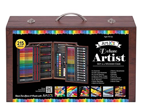 Art 101 Deluxe Artist Set in Wood Case (215 Piece)