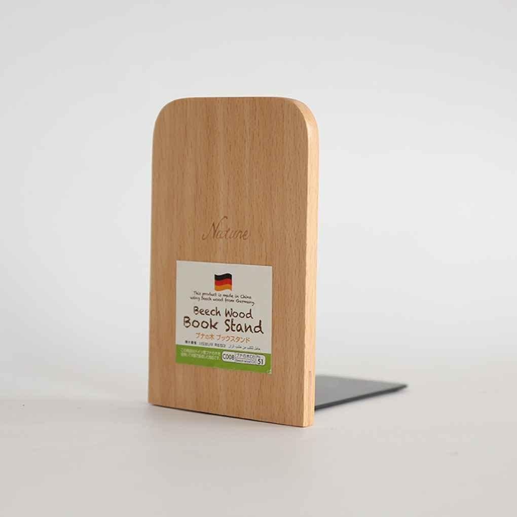 censhaorme Natur Buchenholz Buch-Standplatz Anti-Blockier-System Bookends Buch Ends Regalhalter