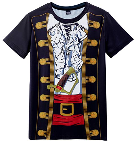 Funny World Men's Pirate Costume T-Shirts (M) Black -