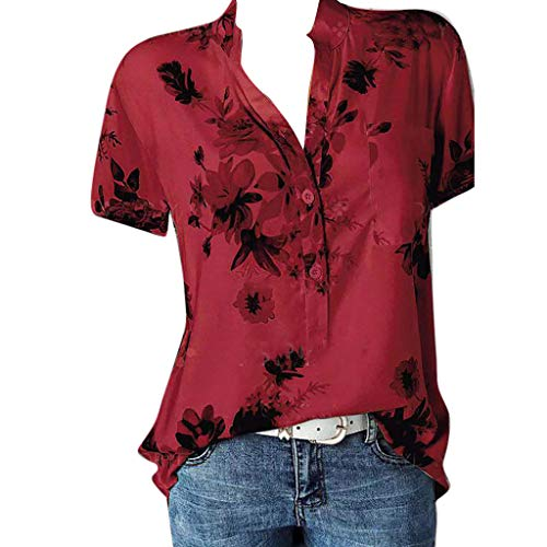 (Short Sleeve Tee Blouse for Women Button-Down T Shirts V-Neck Floral Print Casual Tops Plus Size S-5XL Chaofanjiancai Red)