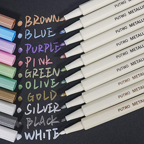 PuTwo Metallic Markers, 10 Assorted Colors Water Proof Metallic Paint Pen Metalic Marker Pens,  Fine Tip Metallic Calligraphy Marker, Multi Surfaces Metallic Paint Marker for Rock, Glass, Cardstock