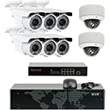 5MP (2592x1920p) 8 Channel 4K NVR Network PoE IP Security Camera System - HD 5MP 1920p 2.8~12mm Varifocal Zoom (6) Bullet and (2) Dome IP Camera - 5 Megapixel (3,000,000 more pixels than 1080P)