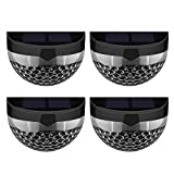 4 Packs Patec Solar Lights Solar Powered Lights 6 LED Semi-Circle Outdoor Lighting Waterproof Wireless Night Lighting for Patio Deck Yard Garden Home Driveway Stairs-Black