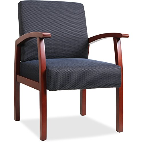 Lorell Guest Chairs, 24 by 25 by 35-1/2-Inch, Cherry/Midnight Blue For Sale