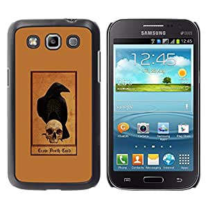 GOODTHINGS Funda Imagen Diseño Carcasa Tapa Trasera Negro Cover Skin Case para Samsung Galaxy Win I8550 I8552 Grand Quattro - sombrío cuervo cráneo marrón cuervo reaper