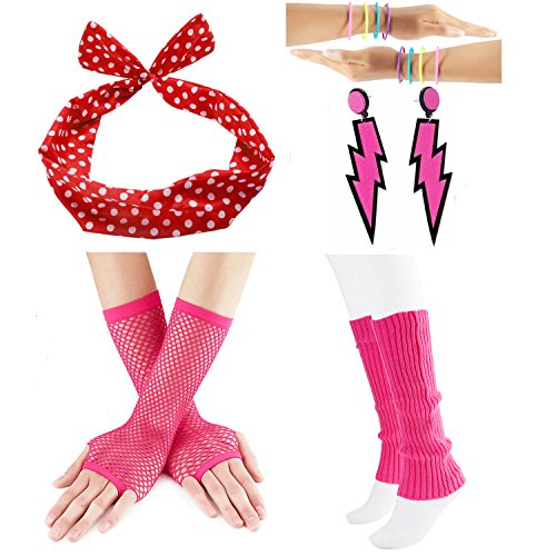 80s Fancy Outfit Costume Accessories Set,Leg Warmers,Fishnet Gloves,Neon Earrings and bowknot headband (80s Clothes For Girls)