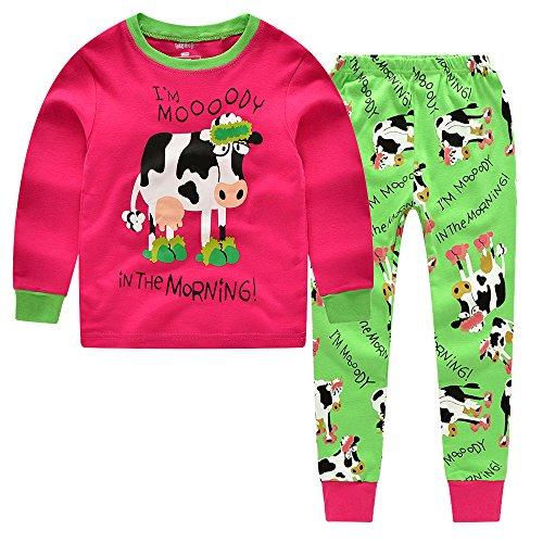 CNBABY Dairy Cow Toddler Girls 2 Piece Long Sleeve Pajamas 100% Cotton