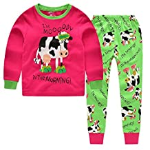 """CNBABY """"Dairy Cow"""" Toddler and Little Girls Pajamas Long Sleepwear Cotton Pjs"""