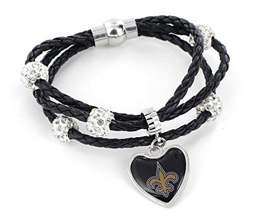 NFL New Orleans Saints Braided Cord Bracelet Black ()