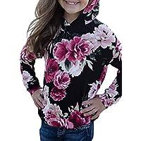 Azokoe Girls 2018 Fall Fashion Long Sleeve Floral Printed Hooded Pullover Tops with Kangaroo Pocket(4-13 Yeasr)