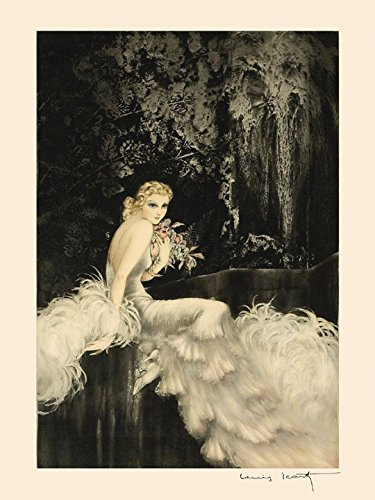 "16"" X 20"" Icart Fashion Lady White Dress Flowers Art Deco Vintage Poster Repro Standard Image Size for Framing. We Have Other Sizes Available!"