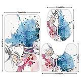 3 Piece Bathroom Mat Set,Girls,Sketchy Fashion Lady with Hat Looking Watercolor Splash Brushstroke Steam Artsy Image,Pink Blue,Bath Mat,Bathroom Carpet Rug,Non-Slip