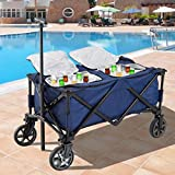 135 Quart Portable Sided Rolling Cooler Cart Lockable Wheels Removable Bag Insulated Folding Design Drinks Cold Storage Adjustable Handle Outdoor Backyard Use