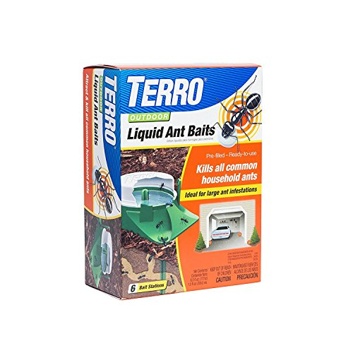 TERRO Outdoor Liquid Ant Bait (Pack of 6) - Includes the SJ pest guide - Liquid Ant Bait Stations