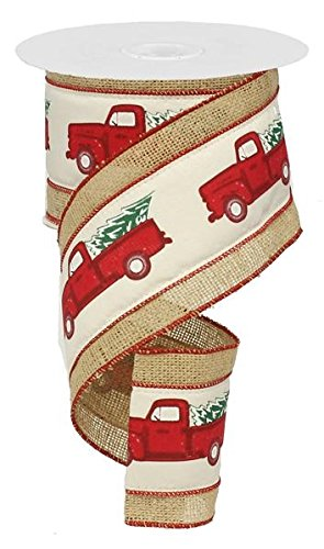 4 wide fabric burlap ribbonchristmas tree garland vintage red pickup truck