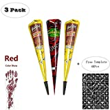 ZEYER India Tattoo Stencil/Temporary Tattoos Paste Cone Tattoo Kit Temporary Red Paste Cones for Body Art Drawing Painting with 48 Pcs Adhesive Stencil Set