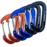 CARAPEAK 12KN Mini Wiregate Aluminum Lightweight 6 Packs Set Hammock Snag Free Carabiners Asymmetric D Shape Black Blue Orange