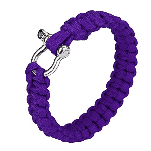 Pocket Tools Parachute Cord Wristband Paracord Survival Bracelet With Zinc Alloy Bow Shackle Rope Survival Bracelet Rope Color Purple