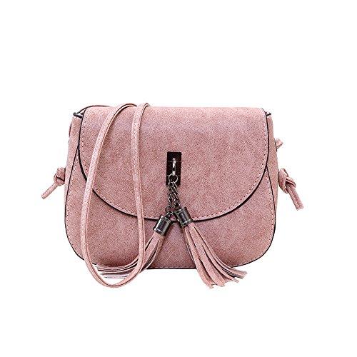 Shoulder Handbag Body Messenger Fashion Womens Pink Small Cross Tassel Yuan Bag qBWS6w1S