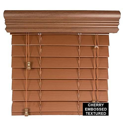 "Spotblinds Custom Cut to Size 2"" Premium Faux Wood Blinds From 24"" Wide to 60"" Long Color Cherry Embossed (24"" W x 38"" L)"