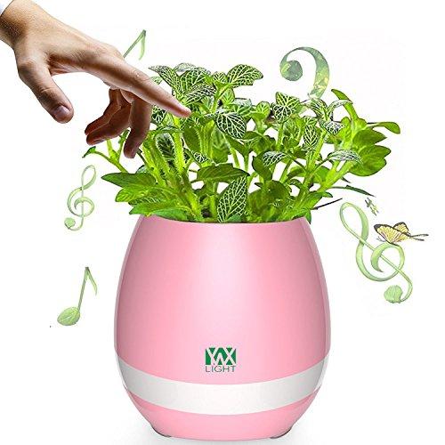 Smart Touch Sensors LED Night Light LED Music Bluetooth Flower Pot Light Flower Vase Play The Piano Decoration Planter Speaker (Color : Pink)