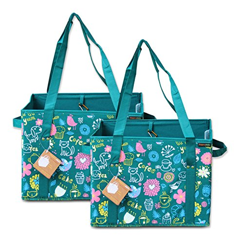 Premium Series PreserveNext Reusable Classic Tote/Collapsible Shopping Box Set with Reinforced Bottom, Side Handles and Key Ring Clasp - Teal (2 Pack)