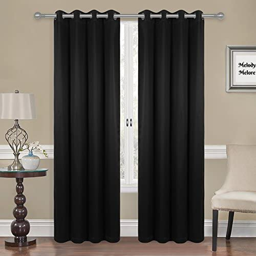 Melody Melore Blackout Window Curtains Pair of 2 Privacy Insulated Window Panels – Thermal 3-Layer UV Protection Room Darkening Curtains with Grommet Top Holes – 52 Wide X 95 Long – Black