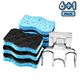 SSJL Multi-Use Dish Sponge 6-Pack with Adhesive Stainless Steel Holder - Kitchen Sponges Scrub Cleaning Pads Supplies - Antibacterial & Biodegradable Scrubber for Dishes- Eco Dishwashing Scouring Pad