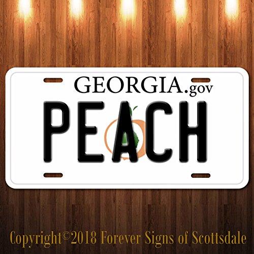 (Forever Signs Of Scottsdale Georgia Peach Georgia State Aluminum Vanity License)