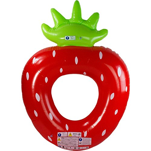 72.5 Red, White and Green Inflatable Strawberry Shaped Swimming Pool Float