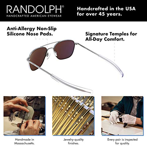 Randolph USA | Matte Chrome Classic Aviator Sunglasses for Men or Women 100% UV