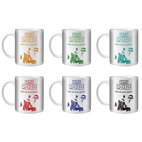 STUFF4 Tea/Coffee Mug/Cup 350ml/6 Pack/FN Battle Royale/Land Loot Build/White Ceramic/ST10 by Stuff4®