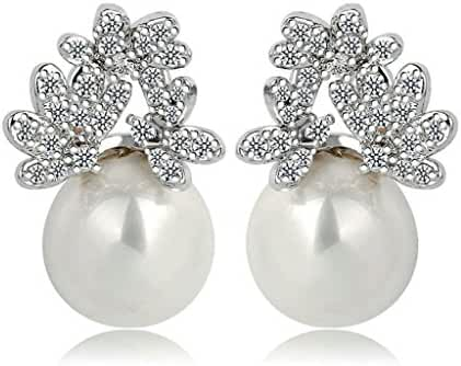 Beydodo White Gold Plating Stud Earrings For Women White AAA Cubic Ziconia 3 Flower Shape Round Pearl