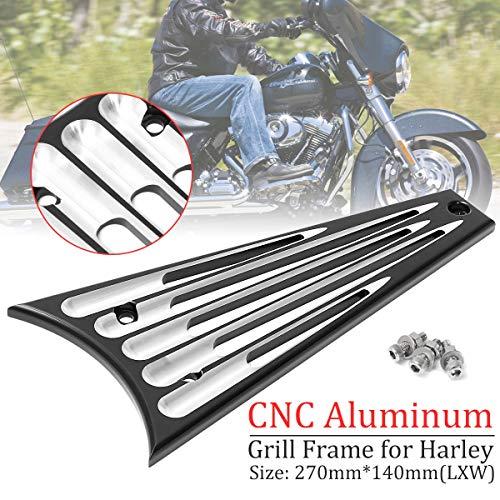 (Value.Trade.Inc - Motorcycle Front Billet Frame Grill Aluminum Black Billet for Harley Touring Street Glide FLHT 2009-2013)