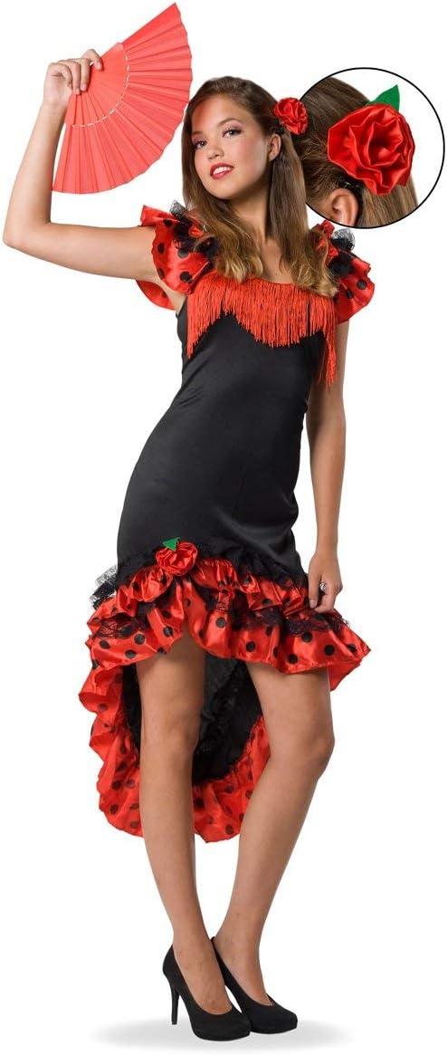 Folat - Traje de Flamenca español para Mujer - Roja & Negro - Talla S-M