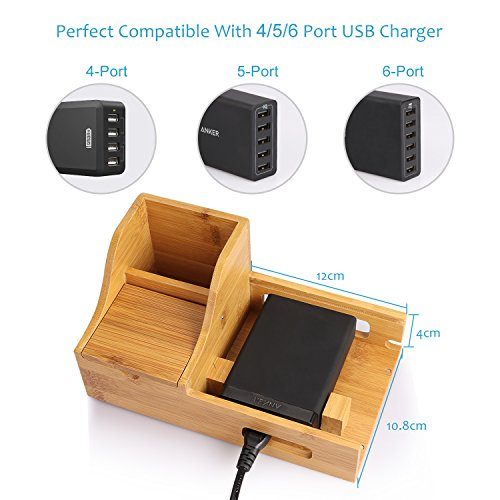 Upow Estación de Carga de Bambú natural para Multi-dispositivo con 5 Cuadros y Mini cajas Organizador de Escritorio Soporte de Carga para Iphones Samsungs Tabletas Ipads S1612