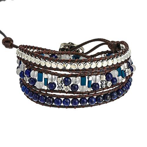 - IUNIQUEEN Women Handmade Boho 3 Wrap Friendship Bead Bracelet, Boot Strap, Choker Jewelry Collection (Blue Mixed)