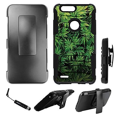 ZTE Zmax Pro 2 Holster Case, Hybrid 2-Layer Shock Proof Armor Holster Kickstand Case by URAKKI - ZTE Zmax Pro 2 2nd Gen (2017) , ZTE Blade Z Max , ZTE Sequoia [Weed Marijuana Camouflage] (Zte Zmax Phone Case Marijuana)