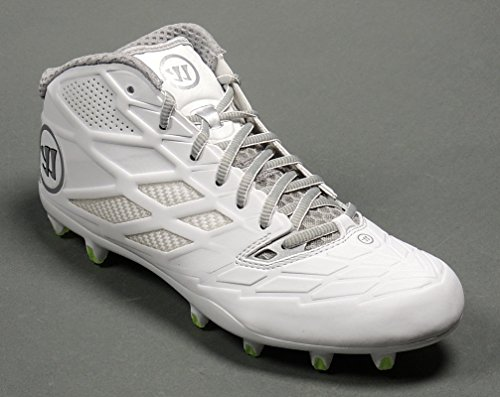Warrior Burn 8.0 Mid Cleat, White/White, 8.5 D US