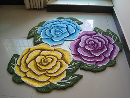 YOUSA Yellow Rose Shaped Rug Anti-slip Mat Handmde Rug 31.523.6