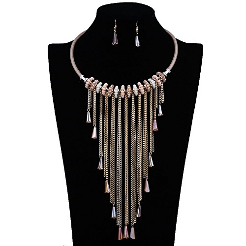 IYOCHO Collar Necklace Earring Set Golden Tassel -