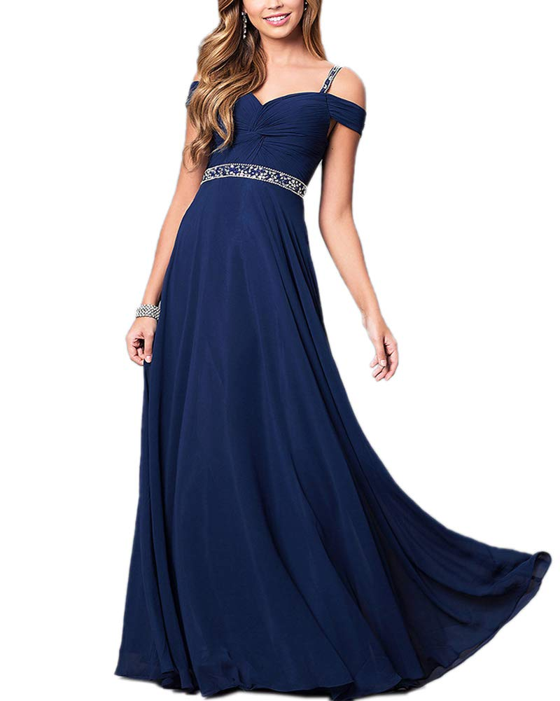 Aofur New Lace Long Chiffon Formal Evening Bridesmaid Dresses Maxi Party  Ball Prom Gown Dress Plus Size (X-Large, Navy Blue)