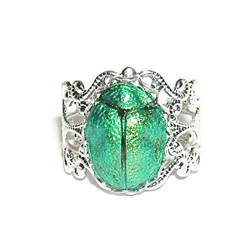 EGYPTIAN REVIVAL SCARAB Ring Metallic Green Beetle Victorian Adjustable ()
